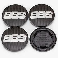 4x Genuine BBS Centre Caps, Black Carbon with Silver BBS Logo 70.6mm - 09.24.282