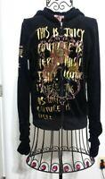 L Juicy Couture Velour Tracksuit Jacket sz Small Women Full zip Hoodie Black L