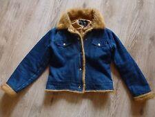 Damen Jacke  Jeans Jacke dunkel blau Steppjacke  mit Pelz Fell Gr. S  36