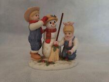 Denim Days Debby Danny Figurine Holiday Time Snowman Home Interiors