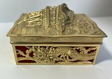 Antique Chinese metal box dragon engravings circa mid 20 Century retired
