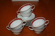6 Espresso - Mokka - Tassen mit Untertassen v. Rosenthal* Classic *Weiß-Rot-Gold