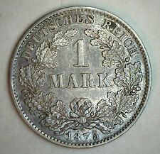 1875 D Silver German 1 Mark Germany Coin UNCIRCULATED