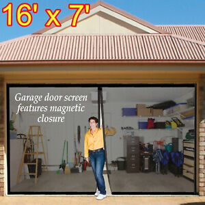 Double Car Garage Door Screen Mosquito Mesh Net Magnetic Closure Insects Bugs
