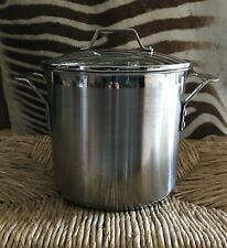 CALPHALON STAINLESS STEEL 8 QT STOCK POT WITH GLASS COVER