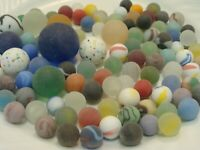 100 Vintage Glass Frosted/Beach Style Marbles Cats Eye Clear Swirls Green Red #2