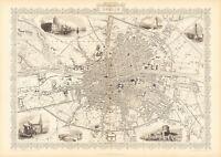 Old Vintage Antique Dublin Ireland decorative map Tallis ca. 1851