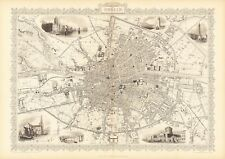 Old Vintage Antique Dublin Ireland decorative map Tallis ca. 1851
