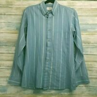 Custom Club by Van Heusen Mens Vintage Shirt S/M Blue Striped Button Down