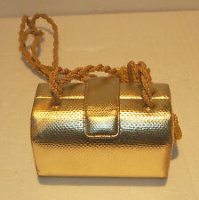JUDITH LEIBER NEW YORK  RARE VINTAGE GOLD EVENING CLUTCH PURSE WITH ROPE DESIGN