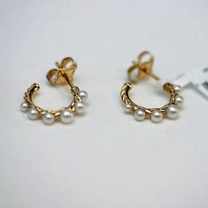 DAVID YURMAN NEW 18K Yellow Gold 15mm Petite Pearl Hoop Earrings