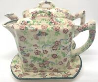 Vintage Floral Chintz Creamer & Teapot With Tray Porcelain 3 Piece With Lids!