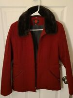 WOMENS red quilted COAT JACKET w/fur collar GALLERY size M