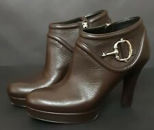 GUCCI Platform Heels Brown Leather Boots 246922 size 38,5 US 8