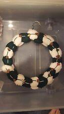 Christmas white and dark green homemade yarn wreath