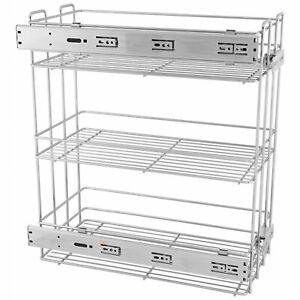 Pull Out Storage Baskets 15cm Soft-Close Mini Cargo - 3 Shelves - Chrome