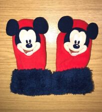 Disney Mickey Mouse Kids Unisex Red Fleece Mitts Gloves 1 - 3 Years