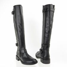 Women's Enzo Angiolini Sayin Shoes Black Leather Riding Boots Size 6 M RTL $200