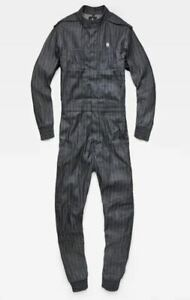 G-Star Raw Avernus Racer Jumpsuit Overall Medium m Raw Denim Pin Stripe Pattern