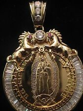 "VIRGEN Pendant & 24"" FIGARO LINK CHAIN GP W/STONES, THE ULTIMATE BLING"