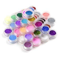 48tlg Glitter Glimmer Glitzer Pulver Puder Glitterstaub Nageldesign Nailart Set