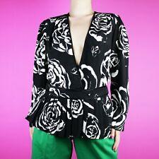 VINTAGE 1980s Black White Pattern Print Disco Club Pleat Retro Blouse Top M L