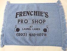 """Frenchie's Pro Shop At Laurel Lanes Plainville Ct Bowling Towel Blue 16""""x11"""""""