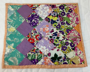 Vintage Patchwork Quilt Table Topper, Doll Crib Quilt, Feed Sack Prints, Squares