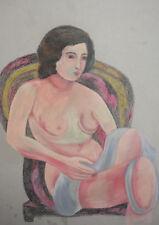 FAUVIST NUDE WOMAN PORTRAIT PASTEL PAINTING