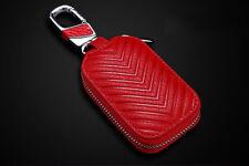Red Genuine Leather Key Holder Men and Women Key Purse Key Case Car Universal