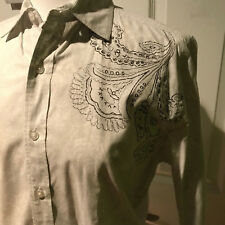 Men's Vintage Red white long sleeve dress shirt Embroidered paisley Small S