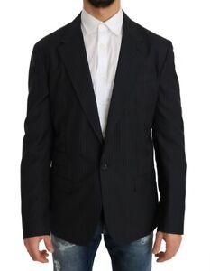 DOLCE & GABBANA Blazer Gray Striped Wool Jacket Coat Slim IT50/US40/L