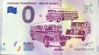 BILLET 0 EURO VINTAGE TRANSPORT MALTA BUSSES  2019-14  N° DIVERS