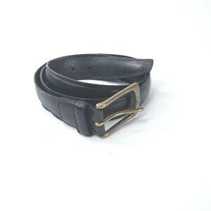 Polo Ralph Lauren Mens Black Leather Casual Belt Gold Buckle Size 36 #148