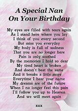 Nan On Your Birthday Memorial Graveside Poem Card With Free Ground Stake F194