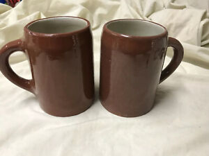 (2) Antique Weller Pottery Cup Art Coffee Mug Brown Tankard Early Basic