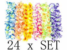 24 Set Hawaiian Ruffled Simulated Silk Flower Hula Party Leis Necklaces Wedding
