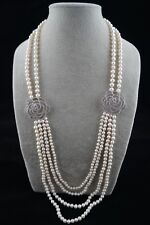 8-9 mm White Pearl Necklace with Double-flower Ornament