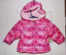 Girls Pink Hearts 18M Jacket Winter Puffer Bubble Coat Snow Toddler