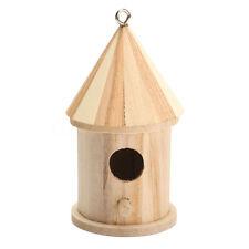 Wooden Bird House Birdhouse Hanging Nest Nesting Box With Hook Home Garden N7V3