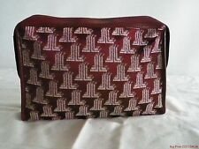 Fab Vtg Lanvin Logo Paris Clutch Burgundy Leather Travel Toiletry Bag Purse
