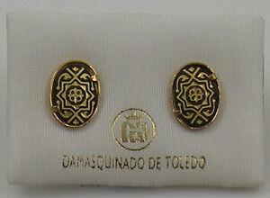Damascene Gold Star of Redemption Stud Earrings by Midas of Toledo Spain 2107