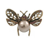 Small Vintage Inspired Crystal Faux Pearl Bug Brooch In Aged Gold Tone - 40mm Ac