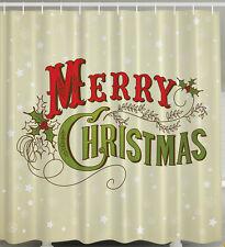 "MERRY CHRISTMAS HOLLY OLD WORLD STYLE 70"" Fabric Bathroom Shower Curtain"