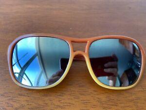 Original Vintage I SKI 2-Tone Orange-Brown to Yellow Mirrored Sunglasses 1970's