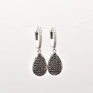 Black and White Diamond Drop Earrings in 18ct White Gold