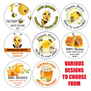 Personalised HONEY BEE Pot Jar Labels Stickers Homemade Preserves Conserve 1031