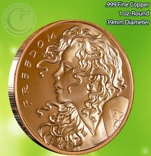 """Freedom Girl"" Copper Round 1 oz .999 Very Limited and Rare Double Sided"