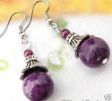 Beautiful Tibet Silver purple jade Earring Earrings