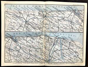 1910 ANTIQUE COLOR MAP - MER DU NORD, BELGIUM - NORDZEE - Rare 100% ORIGINAL